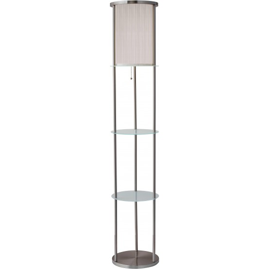 Holden Shelf Floor Lamp Brush Steel