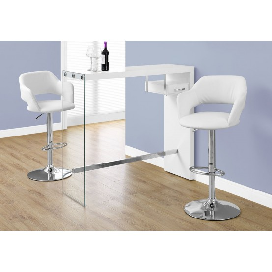Nova Bar Table  Glossy White / Chrome / Tempered Glass