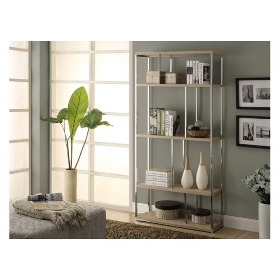 Diva Bookcase Natural with Chrome