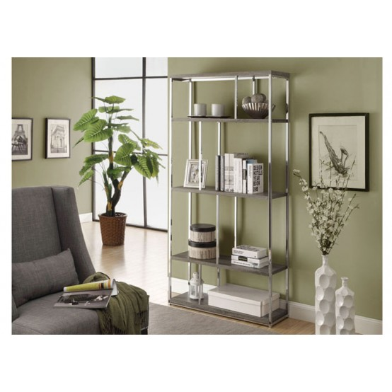 Diva Bookcase Dark Taupe with Chrome