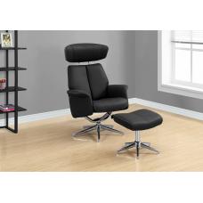 Rick Recliner - 2PCS Set Black Swivel - Adjustable Headrest