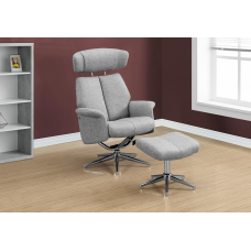 Rick Recliner - 2PCS Set Grey Swivel - Adjustable Headrest
