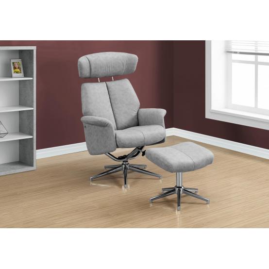 Rick Recliner - 2PCS Set Grey Swivel - Adjustable Headrest