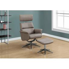Rick Recliner - 2PCS Set Taupe Swivel - Adjustable Headrest