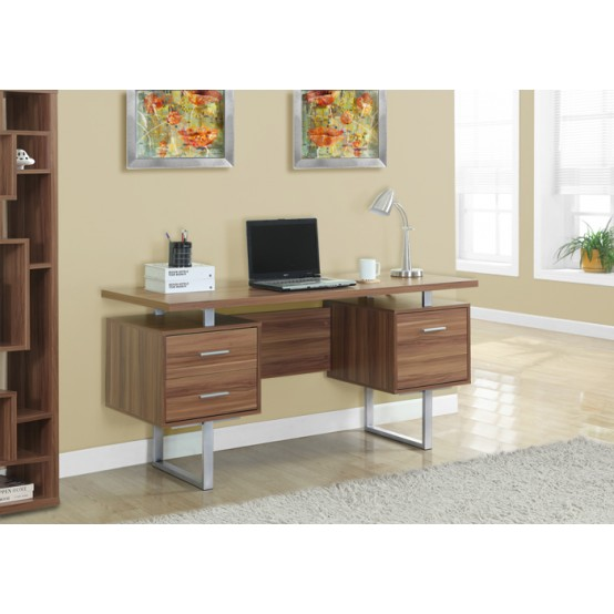 Wave Office Desk Dark Walnut
