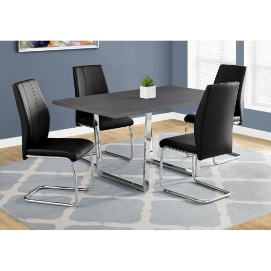 "Dora Dining Table- 36""X 60"" /Grey Finish / Chrome Metal"