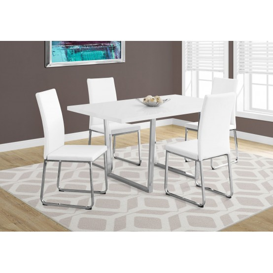 "Dora Dining Table- 36""X 60"" / White Glossy / Chrome Metal"