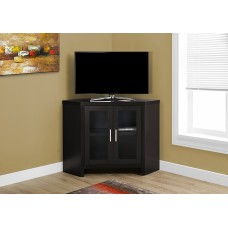 """Edge TV STAND – 42""""L / CAPPUCCINO CORNER WITH GLASS DOORS"""
