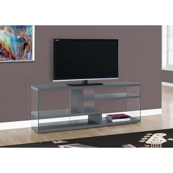 "NOVA TV STAND – 60""L / GLOSSY GREY WITH TEMPERED GLASS"