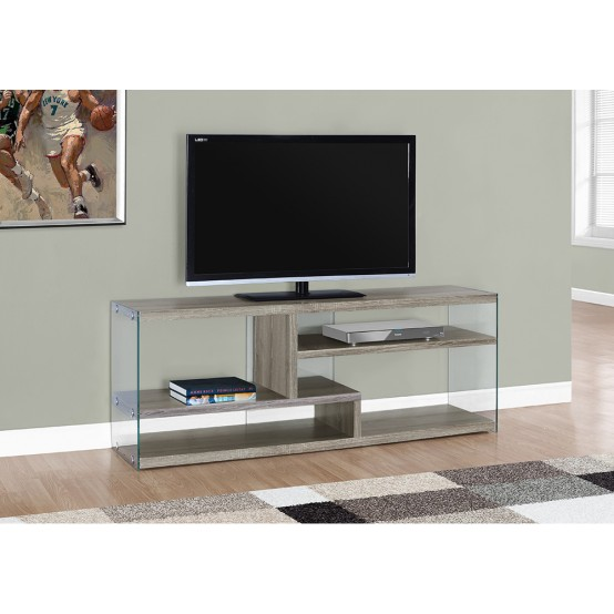 "NOVA TV STAND – 60""L / DARK TAUPE WITH TEMPERED GLASS"