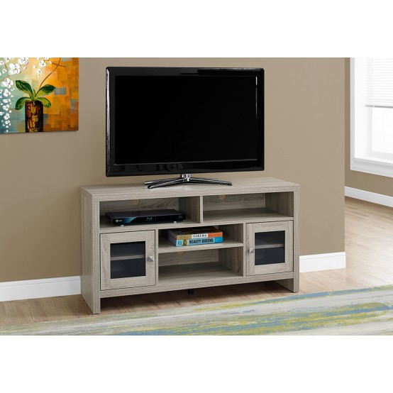 "TRIM TV STAND – 48""L / DARK TAUPE WITH GLASS DOORS"