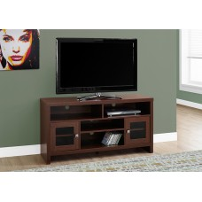 """TRIM TV STAND – 48""""L / WARM CHERRY WITH GLASS DOORS"""