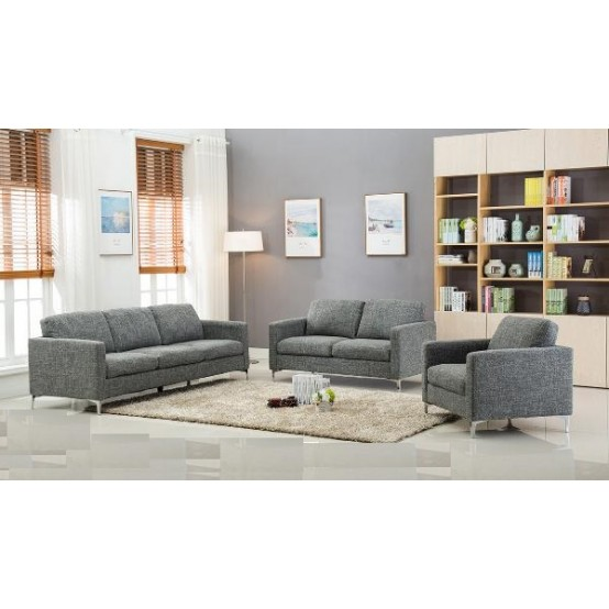 Arrows Sofa Loveseat and Chair Grey Set