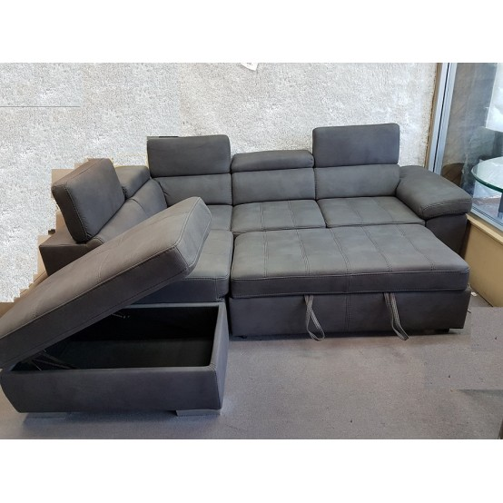 Brix Sofa Bed / Storage Grey Fabric