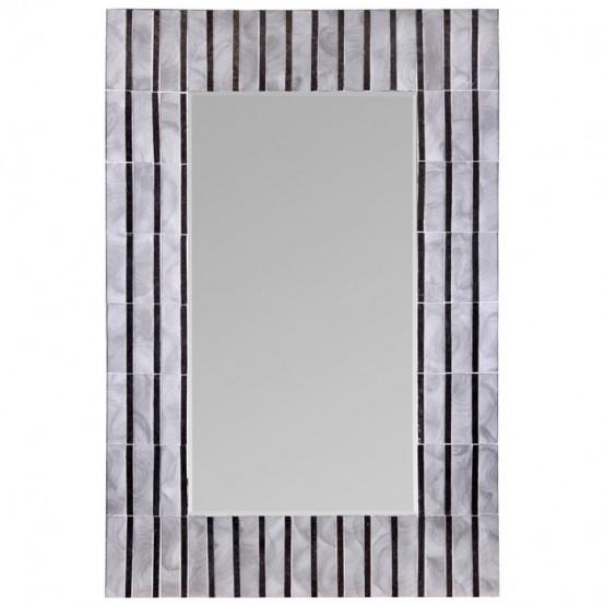 Pearl White Mosaic Rect Mirror