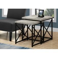 Diva NESTING TABLE - 2PCS SET / GREY RECLAIMED WOOD / BLACK