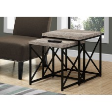 Diva NESTING TABLE - 2PCS SET / TAUPE RECLAIMED WOOD / BLACK
