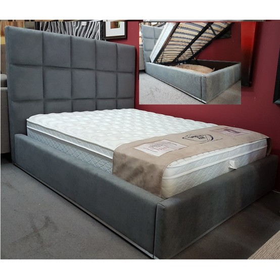 Glare Hydraulic Storage Bed In Grey Denim Blow out From