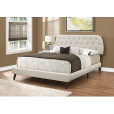 JAY  BED - QUEEN SIZE / BEIGE LINEN WITH BROWN WOOD LEGS