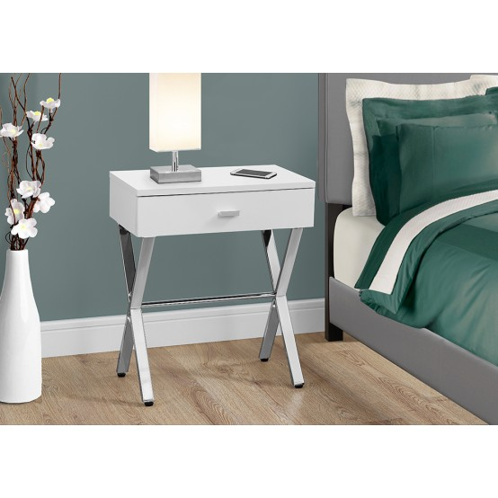 Luna White Night Stand / Accent Table