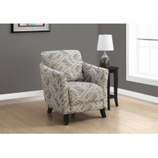Deja Accent Chair TAUPE LEAF DESIGN FABRIC