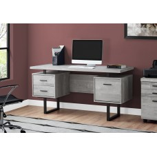 "Wave Office Desk 60""L / GREY RECLAIMED WOOD / BLACK METAL"