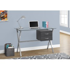 SMITHE COMPUTER DESK  / GREY / CHROME / TEMPERED GLASS