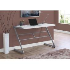 "Zed Computer Desk - 48""L / White / Silver Metal"