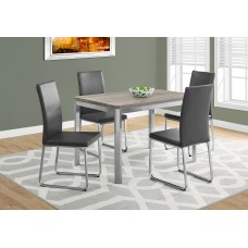 "Aden Dining Table– 32""X 48"" /DARK TAUPE / CHROME METAL"