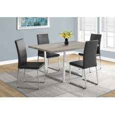 "Dora Dining Table- 36""X 60"" / Dark Taupe / Chrome Metal"