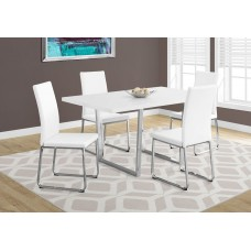 "Dora Dining Table- 36""X 60"" / White  / Chrome Metal"