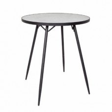 Florence Counter Table – White Marble – Black Base
