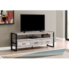 """Arron TV Stand - 60""""L / Taupe Reclaimed  Wood-Look / 3 Drawers"""