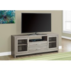 "Brad TV Stand 60""L / DARK TAUPE – DRAWERS / GLASS DOORS"