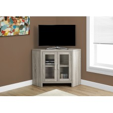 "Edge TV STAND – 42""L / DARK TAUPE CORNER WITH GLASS DOORS"