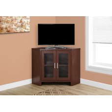 "Edge TV STAND – 42""L / WARM CHERRY CORNER WITH GLASS DOORS"