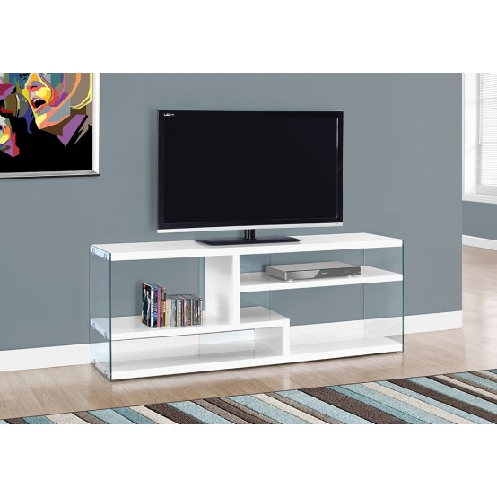 "NOVA TV STAND – 60""L / GLOSSY WHITE WITH TEMPERED GLASS"